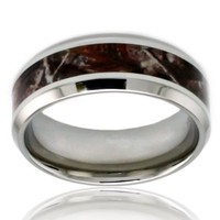 TIONEER Stainless Steel Brown Wood Camouflage Wedding Ring w/ Beveled Edge, 8mm