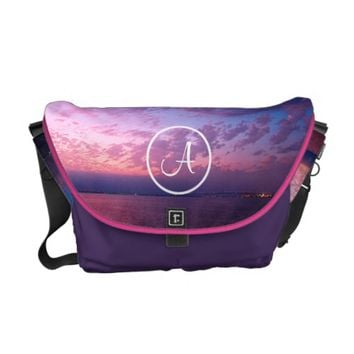 Purple sunset photo custom monogram messenger bag