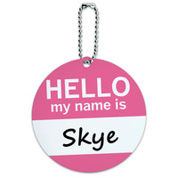 Skye Hello My Name Is Round ID Card Luggage Tag