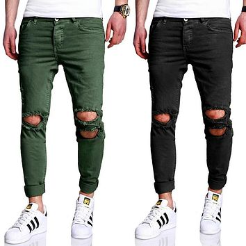 European clothes streetwear light blue hip hop jeans rockstar justin bieber ankle zipper destroyed skinny ripped jeans for men