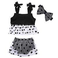 Newborn Baby Girl Clothes Newborn Baby Girls Clothes Tank Tops +Polka Dot Pants +Headband Outfits Set
