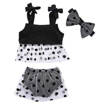 Summer Newborn Baby Girl Clothes Newborn Baby Girls Clothes Tank Tops +Polka Dot Pants +Headband Outfits Set Sun-suit