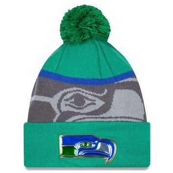 Men's Seattle Seahawks New Era Green/Graphite Gold Collection Classic Team Color Knit Hat
