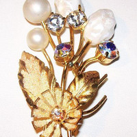 "Baroque Pearl Flower Brooch Signed Austria Clear Rhinestones Gold Metal 2 1/2"" Vintage 1940s"