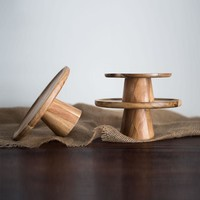 Wood Tray for Cake Fruit Dessert Stand Table Holder