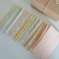 Hand-made Paper, Boxed, Hand Torn Recycled Paper, 100 sheets. Scrap Pack, Craft Box