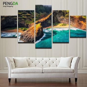 HD Printed Modular Pictures Frame Canvas 5 Panel Beautiful Sea Natural Landscape Painting Living Room Home Wall Art Decor PENGDA