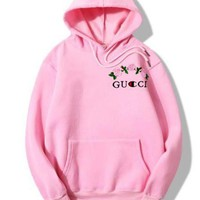 GUCCI Pink Hoodie Print Casual Loose Hoodies Pullover Sweater