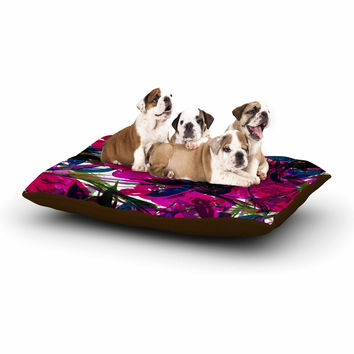 "Ebi Emporium ""Floral Fiesta Magenta Blue"" Watercolor Painting Dog Bed"