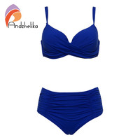Andzhelika 2017 New Sexy Bikinis Women Swimwear Solid Fold High Waisted Bikinis Set Plus Size Swimwear Bathing Suit Biquini