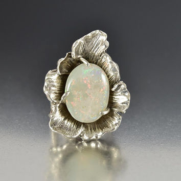 Vintage Arts & Crafts Sterling Silver Flower Opal Ring