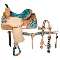"14 inch Double T Barrel Saddle Set,14"" saddle With Zig Zag Border, 14 inch saddle with Zebra Print Seat And Conchos"