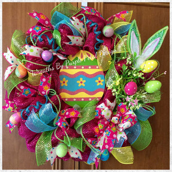 Easter Wreath, Easter Egg Wreath, Spring Wreath, Colorful Easter Wreath, Etsy Wreath, Decomesh Easter Wreath, Pink Easter Wreath, Easter