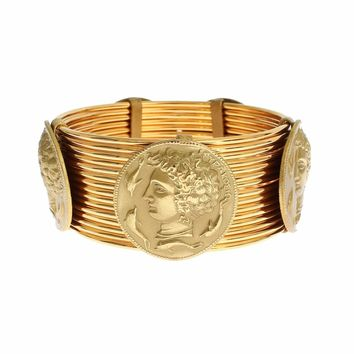 MONETE Gold Brass SICILY Coin Wide Bracelet
