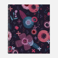 Beautiful Purple, Pink, Blue Flower Notebook, Waterproof Cover, Floral Notebook or Journal, Office Supplies, School Supplies, College Ruled