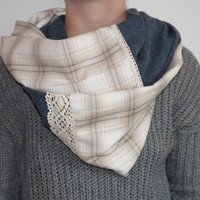 Blue and White Flannel Infinity Scarf with Crochet Lace, Soft Plaid Infinity Scarf for Fall Weather, Winter Weather, Women's Fashion Scarf
