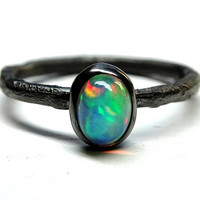 black silver opal ring, unique opal engagement ring, molten opal ring silver, branch opal ring for her, twig opal ring October birthstone