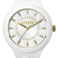 Versace 'Fire Island' Round Rubber Strap Watch, 39mm