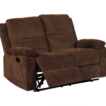 Transitional Style Chenille Fabric Double Recliners Love Seat, Brown