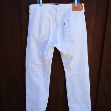 36x32 White Vintage Levis 501 Jeans Classic Fit Button Fly Straight Leg Red Tab Denim Jeans