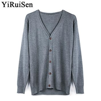 YIRUISEN New Long Mens Cardigans Solid Color Soft Knitted V-neck Sweaters For Men Slim Fit Autumn Clothing M- XXXL #jw055