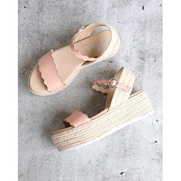 Sbicca Charasmatic Espdadrille Scalloped Edge Ankle Strap Sandal in Blush