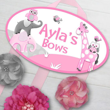 HAIR BOW HOLDER - Personalized Pink Grey Elephants and Friends HairBow Holder Organizer Girls Hair Bow and Clip Hanger HB0176
