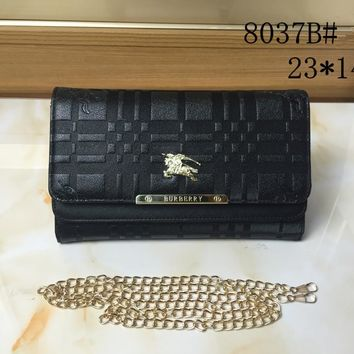 """Burberry"" Women Simple Fashion Metal Chain Single Shoulder Messenger Bag"