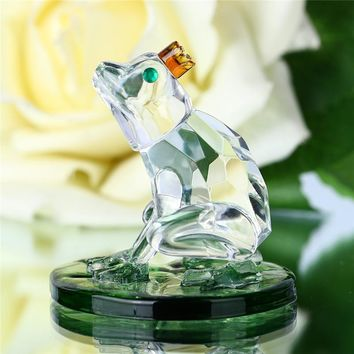 Glass Crystal Frog Figurine / Paperweight