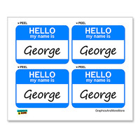 George Hello My Name Is - Sheet of 4 Stickers