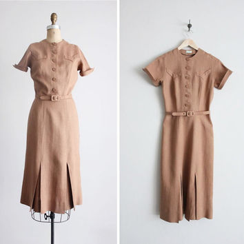 1940s dress / vintage 40s dress / brown linen by allencompany