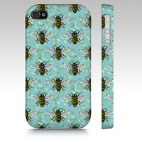 Busy Bee's, iPhone 6S, 5S, 4S, iPad Mini 2,3 or 4, Phone Case, Blue Petals Cell Phone Case ipad mini case, accessories