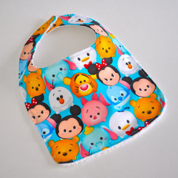 Disney Tsum Tsums baby bib, Tsum Tsum bib, Mickey and Friends bib, Mickey Mouse bib, Tsum Tsums baby, Disney Baby bib, Minnie Mouse baby bib