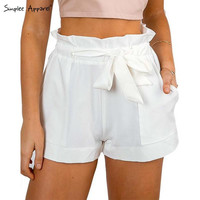 Simplee Apparel 2016 summer new bow high waist shorts with a belt Solid color casual women shorts Pocket pleated chiffon shorts