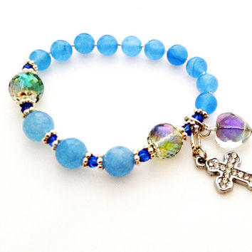 Rosary Bracelet, Chaplet, Natural Aquamarine Gemstone, March Birthstone, Cross Charm, Great Gift Idea for Birthday, Communion, Anniversary