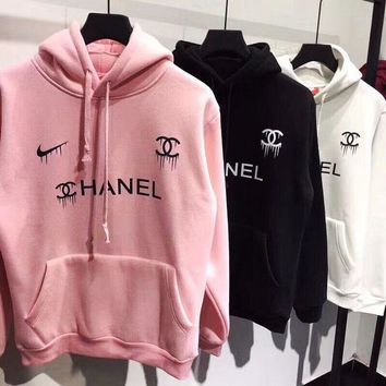 Nike x Chanel Fashion Women Men Print Hoodie Long Sleeve Pullover Tops Sweater Sweatshirts I