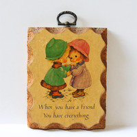 FRIENDSHIP WALL HANGING, vintage gift for friend, picture of little girls, small wall hanging, vintage home decor, small picture for friend
