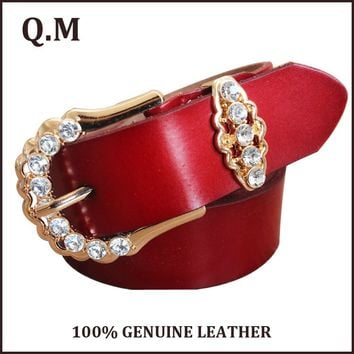 Womens 100% Genuine Leather Fashion Rhinestone Belt