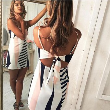 Summer new fashion striped bow staps dress