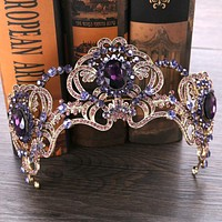 Baroque Purple Crystal Beauty Princess Crown Tiaras Magnificent