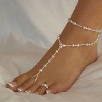 Imitation Pearl Beaded Anklet