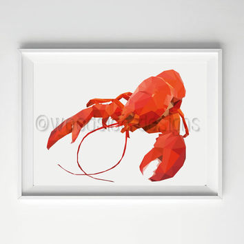 Lobster Print, Low Poly, Digital Print, Instant Download,Geometric Print, Housewarming Gift, Wall Art, Sea life Print, Beach Life Print
