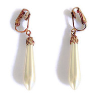 Faux Pearl Tear Drop Earrings Clip On In Brass, Vintage Bridal Jewelry