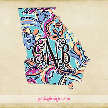 Lilly Inspired Georgia Monogram Decal