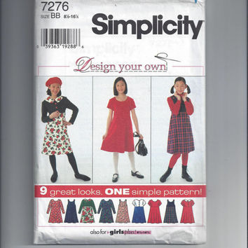 Simplicity 7276 Pattern for Design Your Own Girls' Dress & Jumper, Plus Sizes 8.5 - 16.5, 1996, 9 Great Looks, ~~by Victorian Wardrobe
