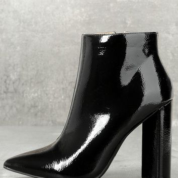 Saige Black Patent Ankle Booties