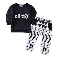 2pcs Hot Newborn Cute Kids Baby Boy Clothes Autumn Warm Long Sleeve Letter  Sweatshirt+Long Print Pants Baby Clothing Set