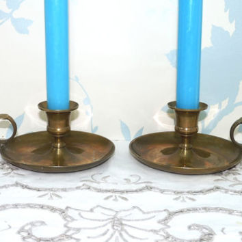 Brass Parlour or Chamber Candlesticks, Pair of Chambersticks, Candle Plates or Holders x 2, Wee Willie Winkie Candlestick, For Taper Candles