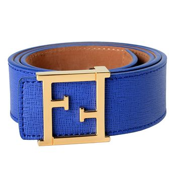 Fendi 100% Leather Dark Blue Women's Belt