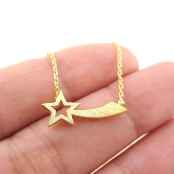 Shooting Star Shaped Make a Wish Pendant Necklace in Gold | DOTOLY